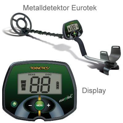 Teknetics Eurotek (LTE) Ausrüstungspaket I (Metalldetektor & Pinpointer Black Huntmate & Schatzsucherhandbuch)
