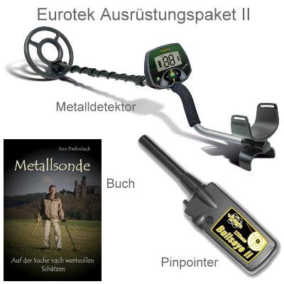 Teknetics Eurotek Metalldetektor Ausrüstungspaket mit Bullseye II Pinpointer