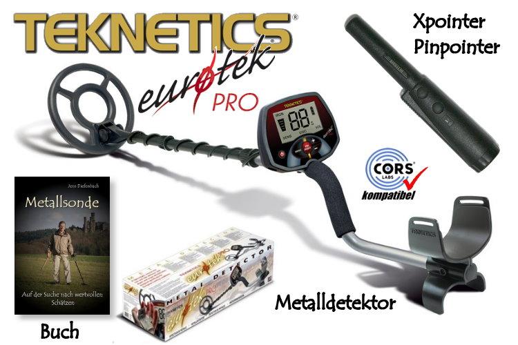 Teknetics Eurotek PRO (LTE) Metalldetektor Ausrüstungspaket mit Xpointer
