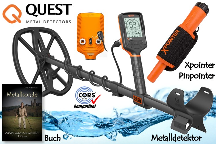 Quest Q30 Metalldetektor & Xpointer Pinpointer (orange) & Schatzsucherhandbuch