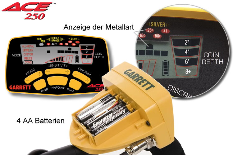Garrett ACE 250 Metalldetektor mit Gratiskopfhörer